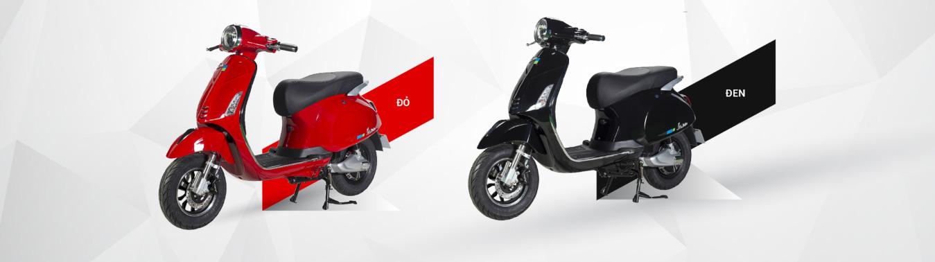 hai màu đỏ - đen xe điện vespa valerio