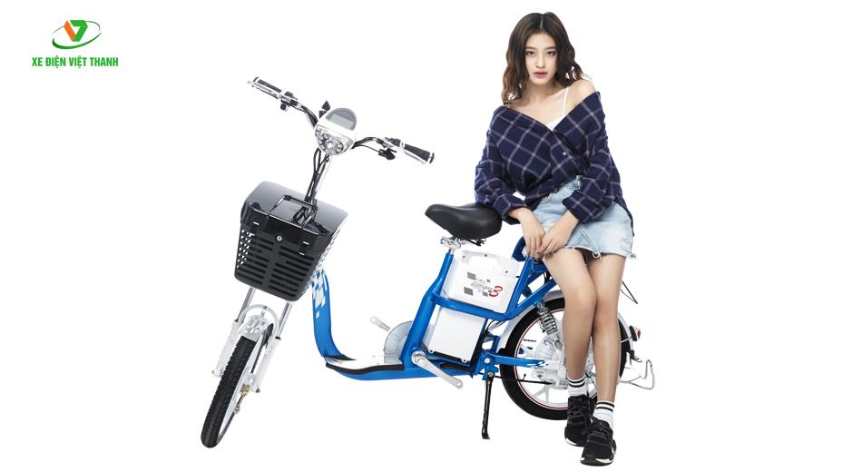 xe đạp điện zinger 9 xanh trắng